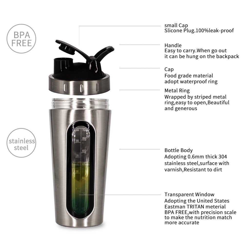 Stainless Steel Shaker Bottle with Visible Window