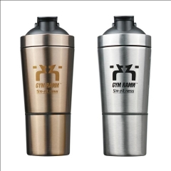 600ML Custom Stainless Steel Protein Shaker Bottle With Protein Powder Container