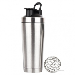 750ML Black Stainless Steel Protein Shaker Bottle With Handle